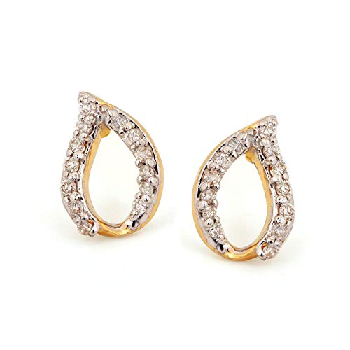 Solid 14K Yellow Gold Genuine 0.17 Ct Diamond Leaf Shape Stud Earrings Fine Jewelry Gift For Her ()