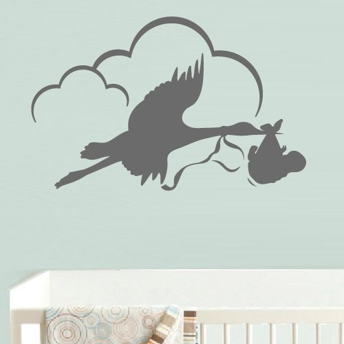 [Wall Decal Vinyl Sticker Decor Art Bedroom Design Mural Stork with Baby Clouds Nursery Kids Baby (Z538)] (Design Wall Decor Murals)
