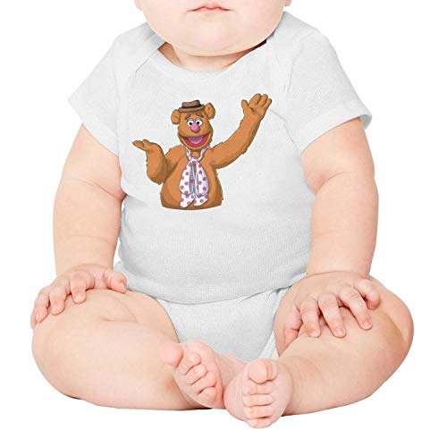 Baby Girls Infant Short Sleeve White Fozzie-Bear-Animal-Muppet-Breathable Organic Cotton Onesies