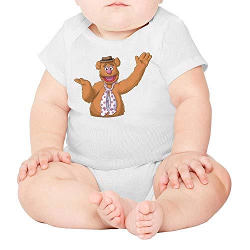 Baby Girls Infant Short Sleeve White Fozzie-Bear-Animal-Muppet-Breathable Organic Cotton Onesies
