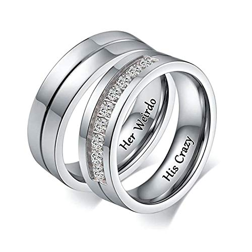 Aooaz Wedding Band Ring His and Hers Wedding Bands Stainless Steel Engraved Her Weirdo and His Crazy Duck Band Wedding Rings for Men Women 8 & Men 13 -
