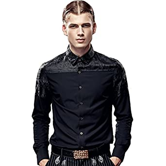 FANZHUAN Black Slim Fit Dress Shirt Club Dress Shirt Casual Shirts ...