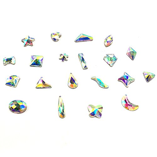 20 pcs Mixed Shapes top quality Glass Crystal AB Nail Art Flatbacks Rhinestones Gems Mix SIZE [By belle one belle] (Glass Shapes Gems)