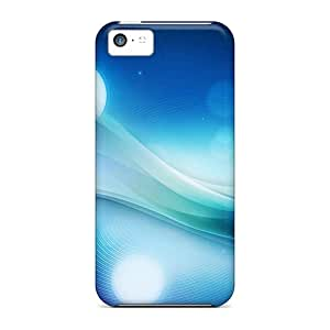New Premium Flip Case Cover Blue Swirls Skin Case For Iphone 5c