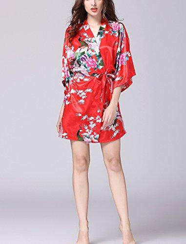 nuovo Geisha Accappatoio Vestaglia damigella di stile Pigiama stile Kimono da notte Pigiama del lungo Donna seta di 2018 d'onore fiori Sleepwear Raso Rosso Robe e amp; 7xq8AgO