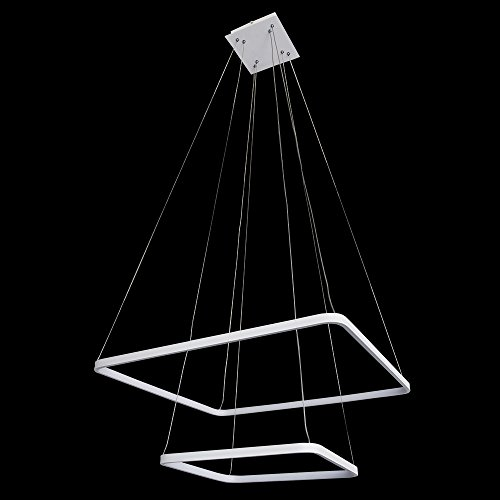 Modern Two-Tier Square LED Chandelier Ceiling Light Fixture Pendant with Adjustable, Silver Two Ring Collection Contemporary, H24