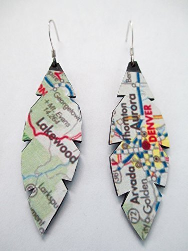 50 State Jewelry: Colorado Map/Atlas Earrings. Created From Repurposed Bike Tubes. (Jewelry Map Colorado)
