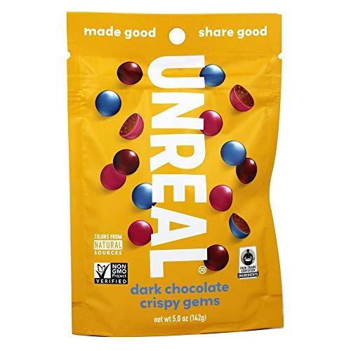 UNREAL Dark Chocolate Crispy Quinoa Gems | Non-GMO, Vegan Certified, Colors from Nature | 1 Bag (Unreal Dark Chocolate Crispy Quinoa Peanut Butter Cups)