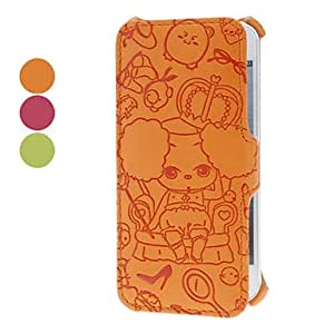 Puzzled Bear Embossed Clamshell Design PU Full Body Case for iPhone 5/5S (Assorted Colors) --- COLOR:Orange