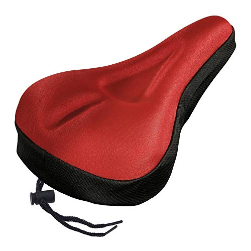 Wulidasheng Gel Bike Seat Cover,Silicone Breathable Soft Cycling Bicycle Saddle Gel Cushion Pad Seat Cover for Comfortable Cover Fits Cruiser and Stationary Bikes, Indoor Cycling Red ()