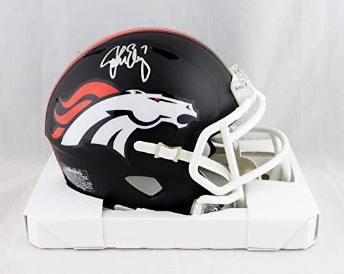 John Elway Autographed Denver Broncos Flat Black Mini Helmet- JSA W Auth - Autographed Jersey John Elway