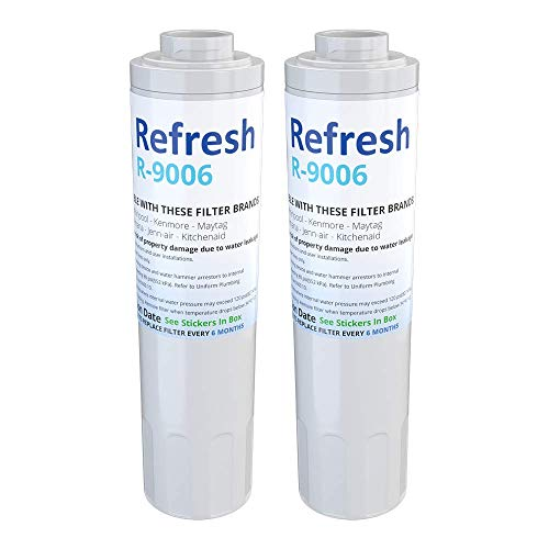 Refresh Replacement for Maytag PUR FILTER 4, Whirlpool EDR4RXD1, Everydrop Filter 4, UKF8001AXX-750, 4396395, PuriClean II, and Kenmore Filters 469006, 46 9006, 9006 Refrigerator Water Filter (2 Pack)