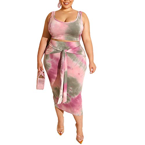 Womens Sexy Plus Size Tie Dye Print Tanks Crop Top Bandage Bodycon 2 Pieces Long Midi Pencil Dresses Outfits Skirt Set Pink 2XL