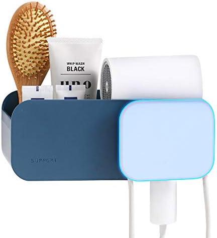 Colore: Blu Scuro Organizer per Asciugacapelli con Scatola Porta Asciugacapelli Porta Asciugacapelli a Parete N//F Mokinga Porta Phone Bagno Adesivo Adesivo Impermeabile e Resistente