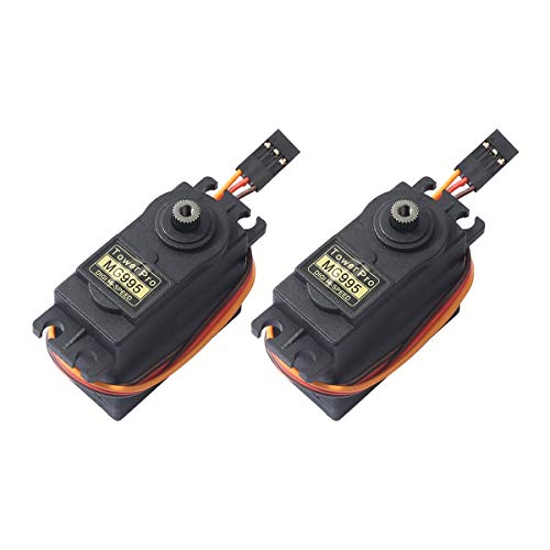 2pcs MG995 360°High Speed Torque Metal Gear Servo Motor Set Kit fit Boat/RC Helicopter/Airplane/Smart Car Robot/JR/Futaba ()