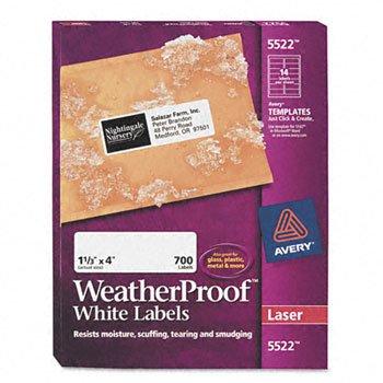 "Avery Dennison Weatherproof Mailing Labels, 1-1/3""X4"", 700/Box, White"