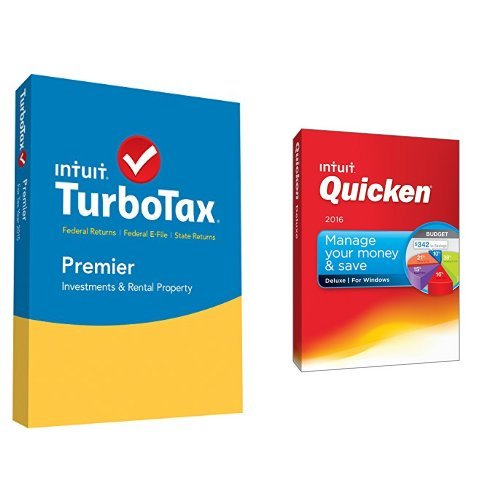 TurboTax Premier 2015 Federal + State Taxes + Fed Efile Tax Preparation Software PC/Mac Disc with Quicken Deluxe 2016 PC Disc (For Download Mac 2015 Quicken)
