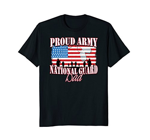 Proud Army National Guard Dad Dog Tag Flag Shirt Fathers ()