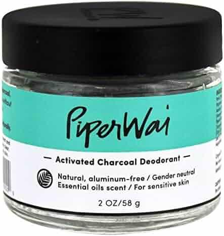 PiperWai Natural, Organic, Vegan, Non-Toxic, Cruelty-Free Aluminum-Free Charcoal Deodorant Jar (2 oz), Odor-Absorbing and Wetness Fighting, Coconut Oil, Gender-Neutral (As Seen on Shark Tank)