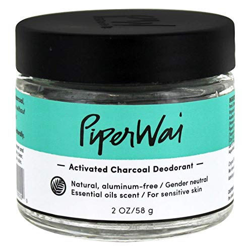 PiperWai, Activated Charcoal Deodorant Jar (2 oz), Natural, Organic, Vegan, Odor-Absorbing and Wetness Fighting, Coconut Oil, Gender-Neutral (As Seen on Shark Tank)