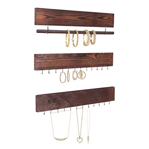 Rustic Jewelry Display Organizer for Wall - Wall Mounted Jewelry Holder Organizer with Removable Bracelet Rod and 24 Hooks - Perfect Earrings, Necklaces and Bracelets Holder - Vintage Jewelry Display (Jewelry Ideas Display Rustic)