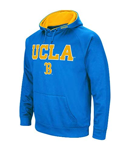 Colosseum NCAA Men's-Cold Streak-Dual Blend-Fleece Hoodie Pullover Sweatshirt with Tackle Twill Embroidered Team Name and Logo-Team Colors (UCLA Bruins-Blue, Small) ()