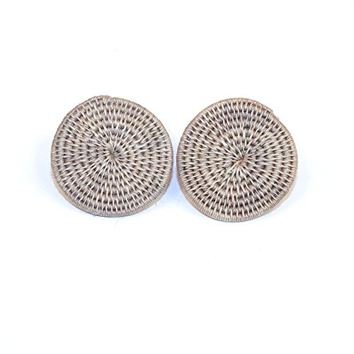 Fair Trade Sisal Large Classic Disk Stud Earrings, Oyster, SJE09OY by Baskets of Africa