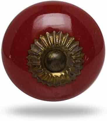 Ceramic Medium Burgundy Zini Antique Finish Drawer Knob Cabinet Cupboard Pull by Trinca-Ferro