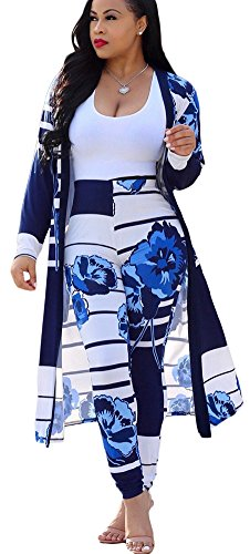 Mintsnow Womens Long Sleeve Jacket Open Front Cardigan + Pants 2 Piece Outfit Blue XL (2 Club Jacket)