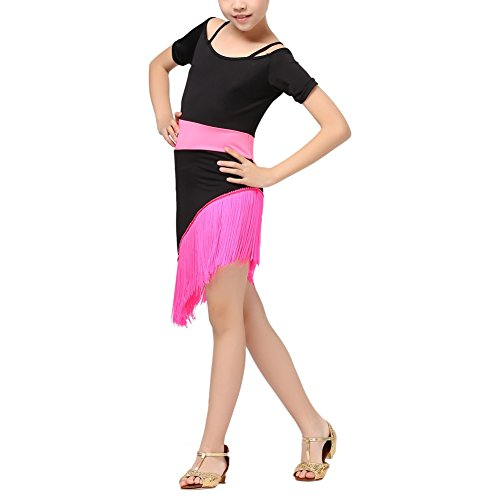 Children's Salsa Costumes (Girls Short Sleeve Tassel Ballroom Latin Dance Dress Salsa Tango Party Costume)