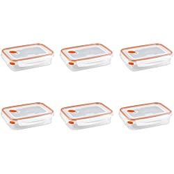 Sterilite 03211106 Ultra Seal 5.8 Cup Food Storage Container, Clear lid and base with Tangerine Accents, 6-Pack