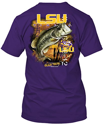 NCAA - Bass Fishing T Shirt - Multiple Universities Available - up to 2X and 3X - Officially Licensed Apparel (LSU Tigers, Large)