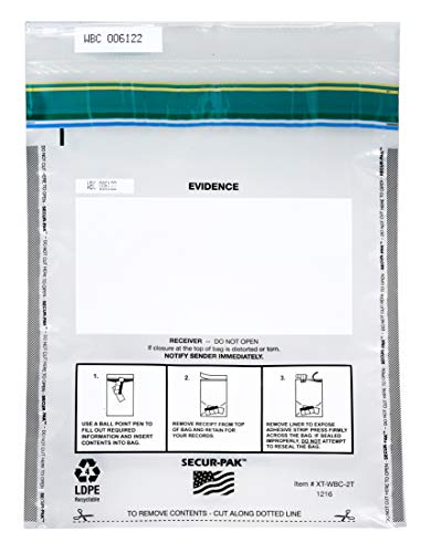 100pk Evidence Bags, 12″ x 16″ – Premium, Level 4 Security Tamper Evident Bags – Self Sealing, Transparent 2.5 Mil Coextruded Polyethylene – SECUR-PAK