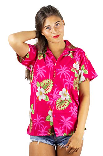 V.H.O. Funky Hawaiian Blouse Shirt, Small Flower, Pink, -