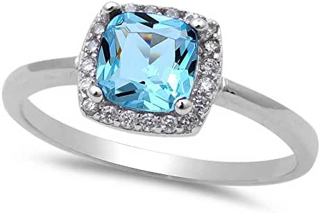 Simulated Aquamarine & Cubic Zirconia Fashion .925 Sterling Silver Ring Sizes 4-10