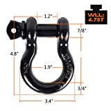 """Ohuhu D Ring Shackles 3/4"""" 2 Pack, D Shackle Rugged"""