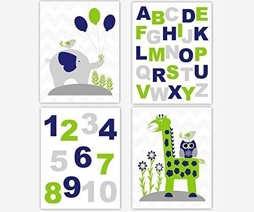 Baby Boy Nursery Art Navy Blue Lime Green Elephant Giraffe ABC Alphabet Numbers Gray Chevron Owl Birds Toddler Bedroom Playroom Baby Nursery Decor SET OF 4 UNFRAMED ()