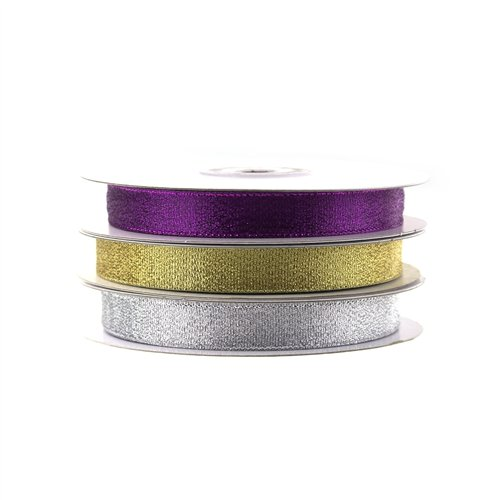 Christmas Gift Wrapping Ribbon (Nylon Taffeta, 5/8-inch x 25-yard, Gold)