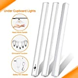 Under Cabinet LED Lighting,Kitchen Under Counter Light Set,IR Sensor Dimmable and Hand Wave Switch, Touch-less Control Closet Light Strips, Cupboard, Wardrobe, 6000K Daylight Cool White,12V,3 Pack