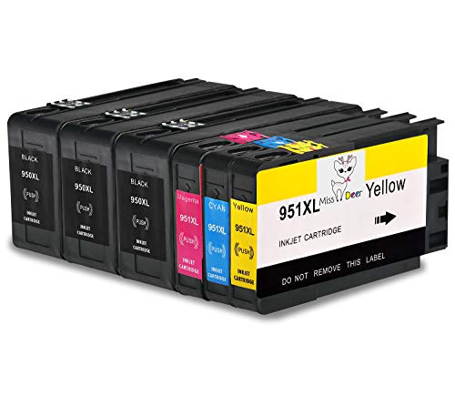 950XL 951XL Ink Cartridges New Updated Compatible for HP 950 951 Works with HP OfficeJet Pro 8600 8610 8620 8100 8630 8660 8640 8615 8625 276 251 271 (1Set+2BK) Ms Deer by Ms Deer