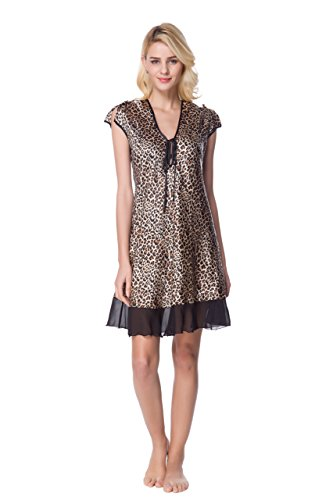 Lavenderi Women's Printed Satin Nightgown (Medium, Leopard AOP) (Satin Nightgown Print)