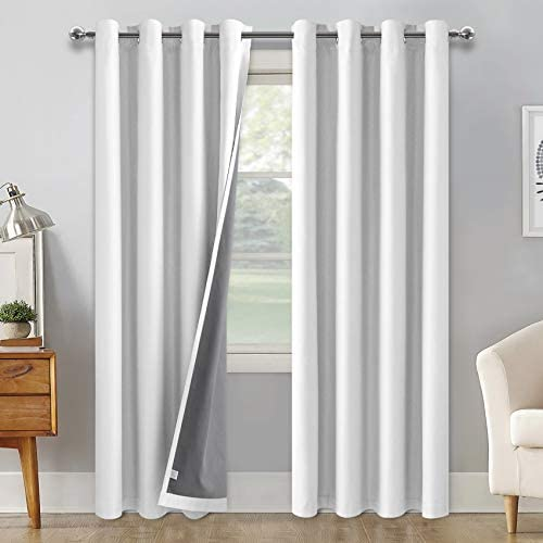 DWCN 100 Blackout Curtains Faux Linen with Back Coating Thermal Insulated Room Darkening Curtain for Bedroom Living Room, White, W 52 x L 84 inches Long, Set of 2 Panels