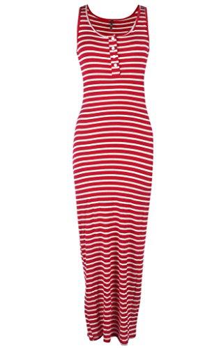Ola Mari Sleeveless Buttoned Henley Maxi Dress, Small, (Cebra One Light)