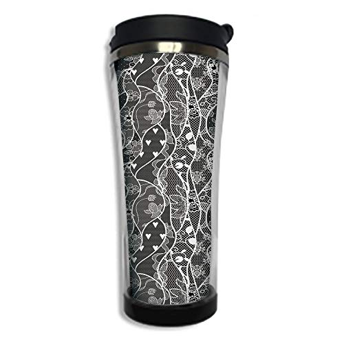 Travel Coffee Mug 3D Printed Portable Vacuum Cup,Insulated Tea Cup Water Bottle Tumblers for Drinking with Lid 8.45 OZ(250 ml)by,Gothic,Vintage Royal Composition with Rose Flowers and Hearts ()