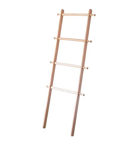 QiangDa Percheros Pie Burro Percha Diseño De Escalera Madera Maciza Colgador De Toallas para Baño Estilo