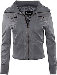 Grey Leather Jacket Womens