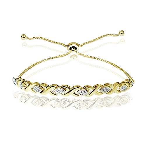 Glitzs Jewels Yellow Gold Flash Silver Simulated Diamond Accented X Tennis Adjustable Bolo Bracelet