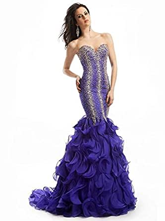 Halloween Big Promotion ~Promotion on Sales !!!  Custom Design!2017 New Sexy Sweetheart Exquisite Beading Organza Mermaid Evening Dresses (Royal Blue, XL)