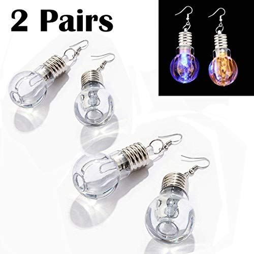 eLUUGIE 2 Pairs/4 Pecies LED Earrings Glowing Light Up Toy Bulb Shape Ear Drop Dance Party Accessories Multicolored Flashing for Christmas Party Gift Festival Party (2 Pairs/ 4 Pieces) -