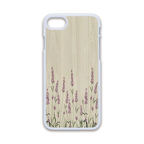 (Phone Case Compatible with iPhone7 iPhone8 White Soft Edges 2D Print,Lavender,Aromatic Herbs on Wooden Planks Springtime Nature Botany Illustration,Beige Lilac Sage Green,Hard Plastic Phone)